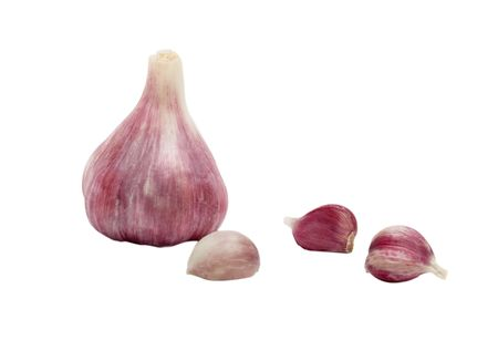 alliaceae: Garlic bulbs and cloves isolated on whie background Stock Photo