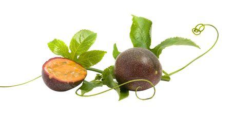 Passiflora fruit  and vine isolated on white background photo