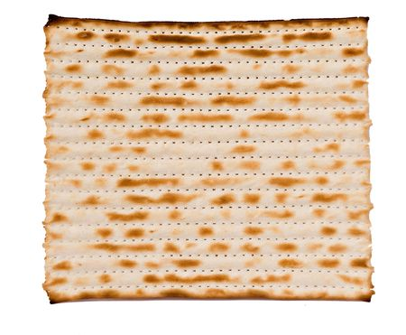 mitzvah: Close up of square matza isolated on white background Stock Photo