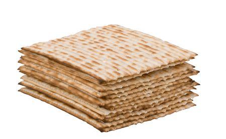 Close up of pile of square matza photo