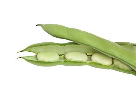 Green beans isolated on white background photo