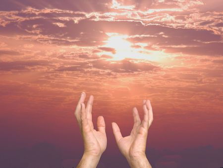 urge: hands reaching out to sky as a symbol of people hope and aspirations. Stock Photo