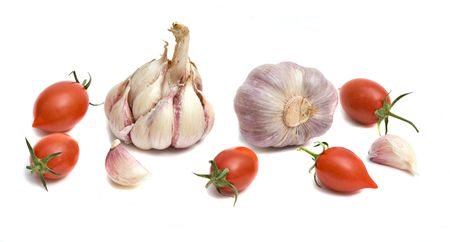 Tomatoes and garlic isolated on white bakground Stock Photo - 4737750