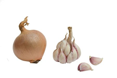 Onion, garlic bulb and cloves isolated on whie background photo