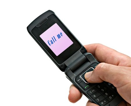 Mobile phone with call me label on its screen photo
