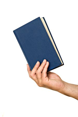Hand with book isolated on white background Stock Photo - 4821686