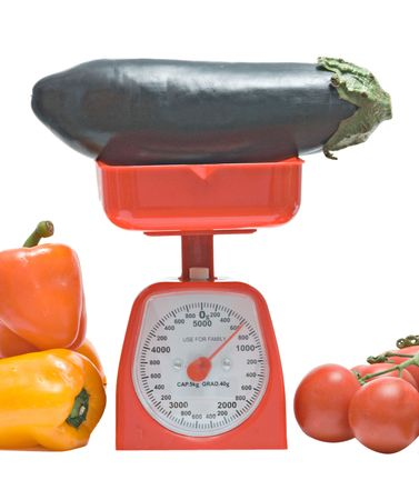 weighting: Kitchen scale weighting eggplant