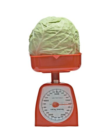 weighting: Kitchen scale weighting cabbage