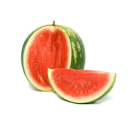 seedless: Seedless watermelon and its segment isolated on white background