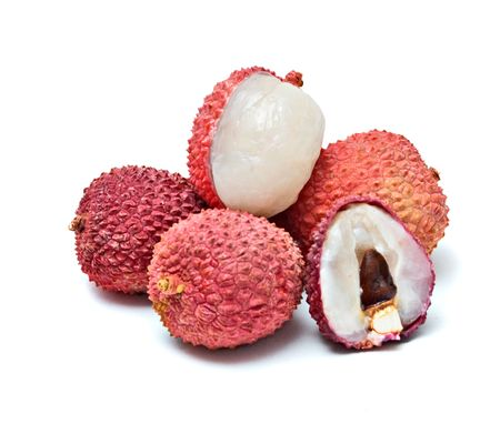 Lychees and its section isolated on white background photo