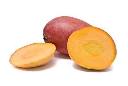 superfruit: Mango and sections isolated on white background