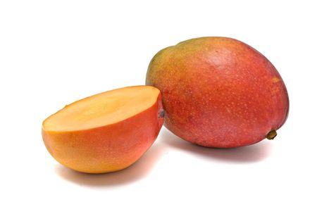 superfruit: Mango and mango section isolated on white background