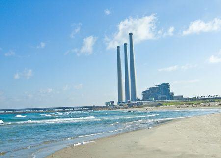 fueled: A fossil fueled power station on sea coast