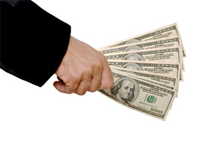 creditor: Dollars in hand  Stock Photo