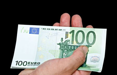 payer: Euro banknotes in hand Stock Photo