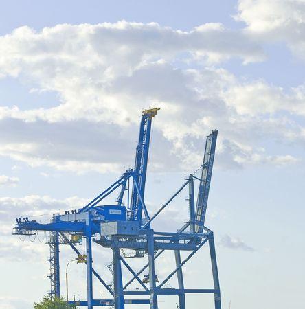 mechanization: Lifting cranes in port of Rejeka, Croatia