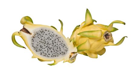 Yellow dragon fruit and its section isolated on white background photo