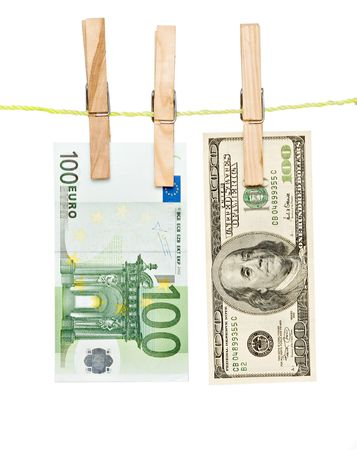 banknotes drying  on rope after laundry photo