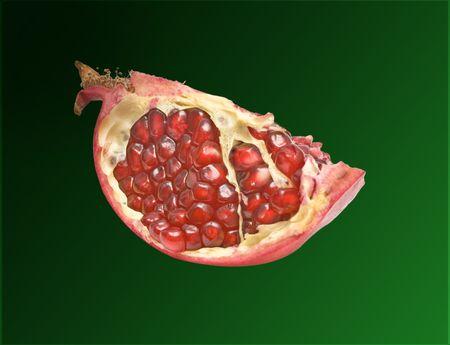 segment: Pomegranate segment isolated on green background