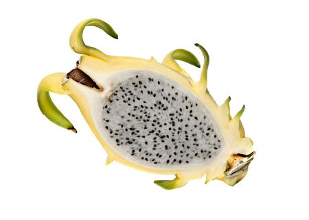 Yellow dragon fruit  section isolated on white background photo