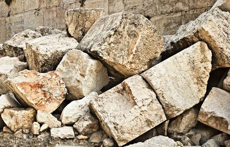 Stone blocks from section of wall surrounding Temple mount (Wailling wall) destroyed by roman soliders  Stock Photo
