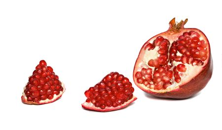superfruit: Pomegranate segments and cross-section isolated on white background