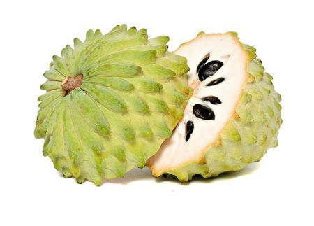 nourishment: Soursop sections isolated on white background  Stock Photo