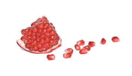 superfruit: Pomegranate segment  isolated on white background