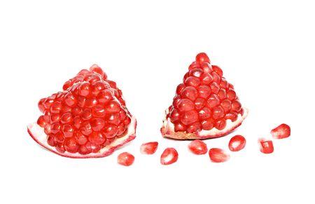 superfruit: Pomegranate segments  isolated on white background Stock Photo