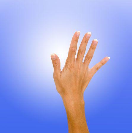 backcground: Hand isolated on blue background