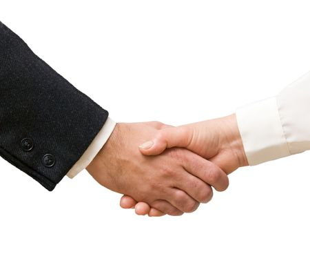 Handshaking man and woman Stock Photo - 6293077