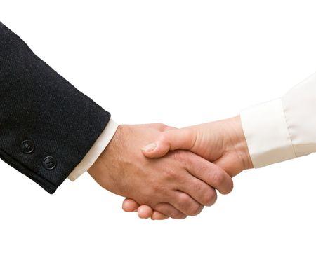 Handshaking man and woman Stock Photo - 6293077