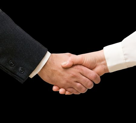 Handshaking man and woman Stock Photo - 6357901