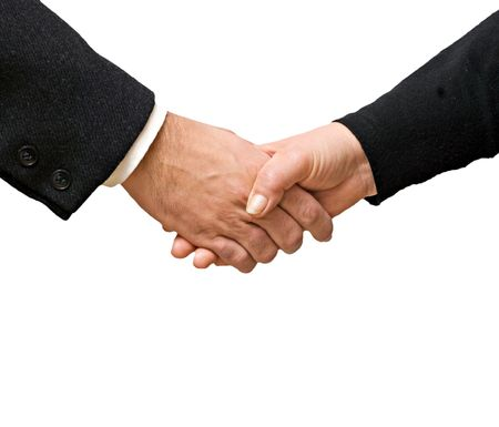 Handshaking man and woman Stock Photo - 6487109