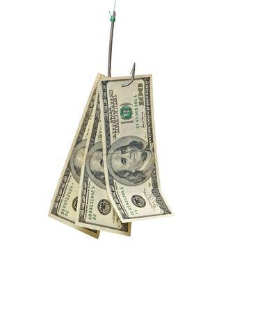 fishhook: Dollars on fishing hook Stock Photo