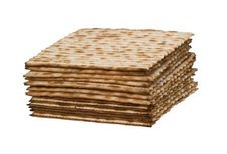matza: Close up of square matza isolated on white background Stock Photo