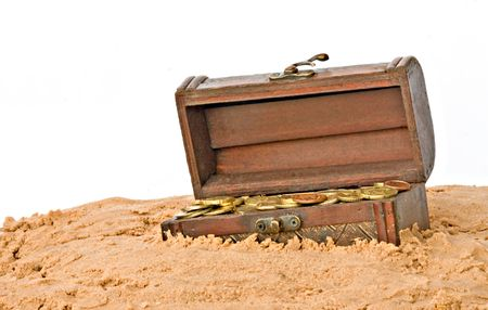 Wooden treasure chest in sand photo