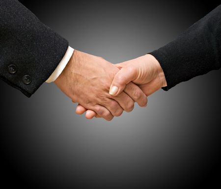 handshaking: Handshaking man and woman Stock Photo