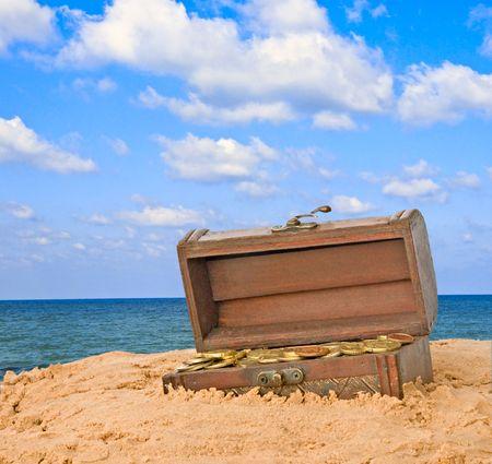 treasure box: Wooden treasure chest  Stock Photo