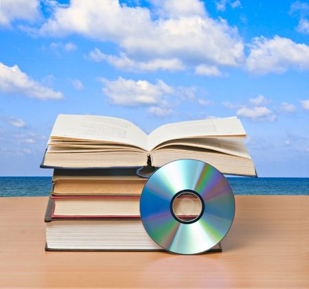 textbook: Books and dvd Stock Photo