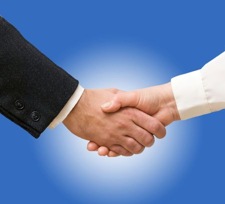 Handshaking man and woman Stock Photo - 6710071