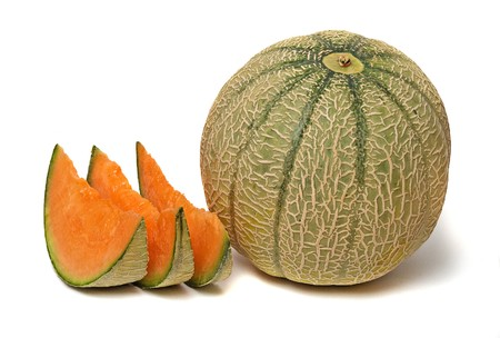 melon and three segments isolated on white background photo