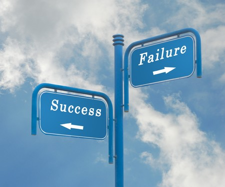 Road signs to success and failure photo