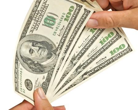 contando dinero: Contando dinero  Foto de archivo