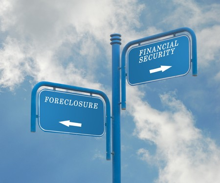Road signs financial security and foreclosure photo