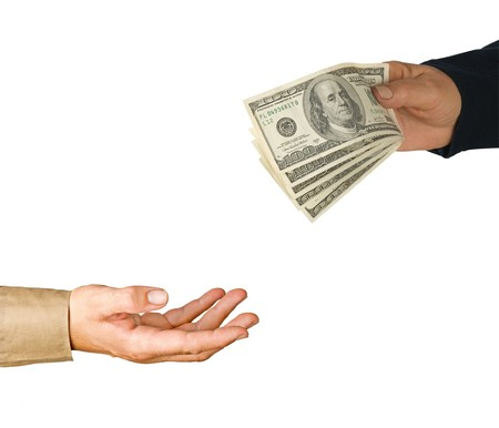 Transfer of money between man and woman Stock Photo - 7177509