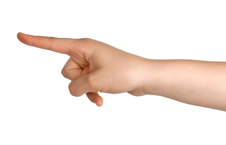 left hand: Hand pointing left Stock Photo