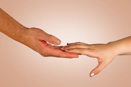 Handshaking man and girl Stock Photo - 7250119