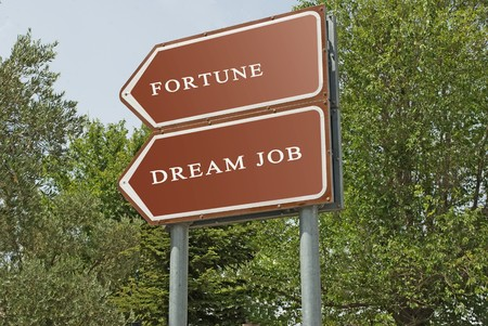Road signs to dream job and fortune photo