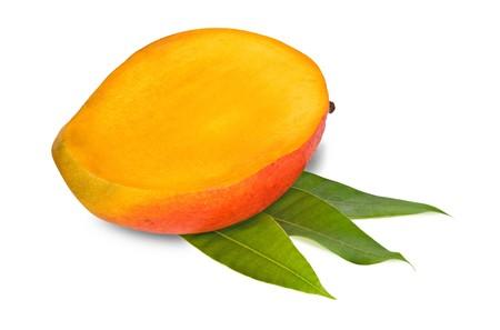 superfruit: Mango section isolated on white background